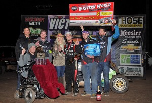 Darren Hagen in victory lane following the feature victory on Saturday at Canyon Speedway Park. - TWC Photo