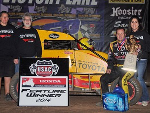 Tracy Hines with his team in victory lane at Canyon Speedway Park. - TWC Photo