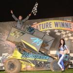 Brad Sweet celebrates his second consecutive feature Saturday night at Valvonline Raceway. - Image courtesy of Valvoline Raceway