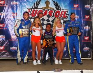 Chris Windom, Hooters Girl, Flag Man, Rico Abreu, Hooters Girl, J. J. Yeley (Serena Dalhamer photo)