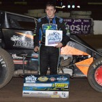 Brady Bacon topped the opening leg of the E&K Winter Challenge by taking the top spot in Friday night's 30-lap USAC Southwest vs. USAC West Coast feature event at Peoria, Arizona's Canyon Speedway Park. (Jason Rominger Photo)