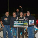 Ryan Bernal and crew enjoy E&K Winter Challenge victory lane after topping Saturday night's 30-lap USAC Southwest vs. USAC West Coast Sprint Car feature at Canyon Speedway Park in Peoria, AZ. (Terry Shaw Photo)