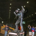 Sammy Swindell doing a victory dance following his victory on Saturday in the VIROC Race of Champions.  (Serena Dalhamer Photo)