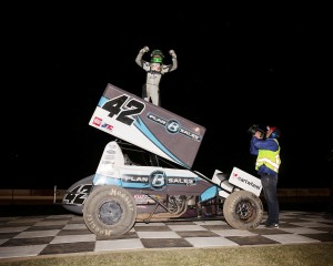 Kyle Larson in victory lane following his win during the Winter Heat Sprint Car Showown at Cocopah Speedway. - Serena Dalhamer Photo