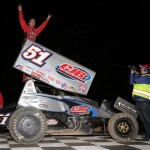 Paul McMahan in victory lane following his victory during the Winter Heat Sprint Car Showdown at Cocopah Speedway. - Serena Dalhamer Photo
