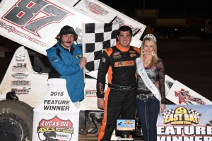 Aaron Reutzel picked up the opening night of the 2015 Lucas Oil ASCS National Tour with his first win at Florida's East Bay Raceway. (ASCS / Al Steinberg)