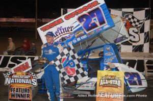 Greg Hodnett in victory lane at Volusia Speedway Park. - Alan Holland/hoseheads.com Photo