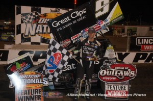 Daryn Pittman in victory lane following his victory in the opening night of World of Outlaws STP Sprint Car Series action at Volusia Speedway Park. (Alan Holland/Hoseheads.com Photo)