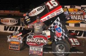 Donny Schatz following his feature victory on Saturday night at Volusia Speedway Park. (Alan Holland / hoseheads.com Pho)