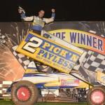 Ben Atkinson celebrates following his victory on Saturday night at Valvoline Raceway.  - Image courtesy of Valvoline Raceway