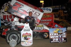 Jason Sides in victory lane following his victory on Friday night at East Bay Raceway Park. (Alan Holland/hoseheads.com Photo)