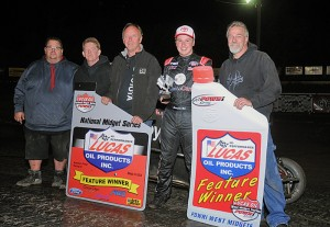 Christopher Bell and the Keith Kunz Motorsports team enjoy POWRi victory lane after completing a sweep of Port City Raceway's Turnpike Challenge on Saturday night. (Lonnie Wheatley Photo)