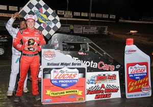 Christopher Bell raced from the tenth starting position to win Friday night's 40-lap season-opening POWRi Midget event at Port City Raceway's Second Annual Turnpike Challenge in Tulsa, OK.  (Lonnie Wheatley photo)