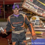 Danny Martin, Jr. in victory lane following Friday's USCS feature victory at Toccoa Speedway. (Chris Seelman Photo