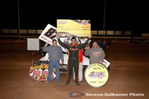Aaron Reutzel collected $2,000 for his victory with the ASCS Red River Region on Saturday at the Red River Speedway (Serena Dalhamer Photo)