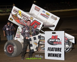 JR Stewart won the NRA Sprint Invader feature at Limaland Motorsports Park.  (Mike Campbell /  www.campbellphoto.com)