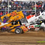 Danny Holtgraver (#59) racing with Cody Darrah (#89) Saturday at Attica Raceway Park during the HD Supply Spring Nationals. (Mike Campbell Photo)