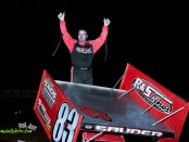 Kyle Sauder celebrates his victory Friday at Limaland Motorsports Park. (Mike Campbell Photo)