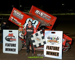 Kyle Sauder in victory lane Friday April 24th, 2015 at Limaland Motorsports Park. (Mike Campbell / Campbellphoto.com)
