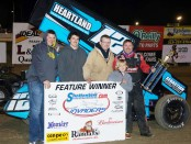 Jerrod Hull and his team in Victory Lane at 34 Raceway (Dana Royer/34 Raceway Photo)
