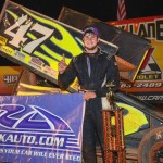 Eric Riggins won at the Carolina Speedway for the fourth time in USCS Sprint Car Series competition on Friday night -- and third in his past four tries. (Chris Seelman photo)