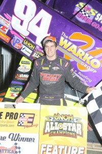 Ryan Smith in victory lane following his victory with the All Star Circuit of Champions during the HD Supply Spring Nationals at Attica Raceway Park. (Action Photo)