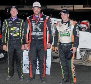 Third place Chase Stockton, winner Robert Ballou, and second place Brady Bacon (l to r) following the USAC Amsoil National Sprint Car Series feature at Lakeside Speedway. (USAC Photo)