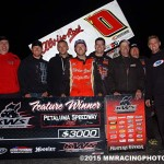 Bud Kaeding and crew celebrates their victory in the King of the West Sprint Car Series Saturday night at Petaluma Speedway. (M&M Racing Photos)