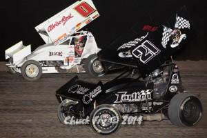 Bud Kaeding (#0) racing with Tommy Tarlton (#21) . (Chuck Fry Photo)