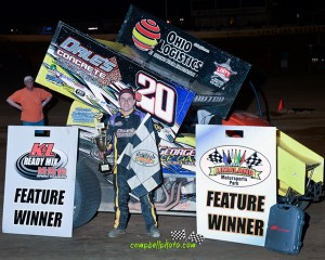 Butch Schroeder won the NRA Sprint Invader feature at Limaland Motorsports Park. (MIke Cambell / Campbellphoto.com)
