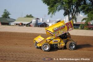 Joey Saldana in 2014 at I-96 Speedway. (T.J. Buffenbarger Photo)