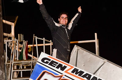 Cap Henry celebrates his victory during the Eric Phillips Classic Friday night at Attica Raceway Park. (Mike Campbell / Campbellphoto.com)
