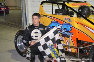 Jimmy McCune in victory lane following his feature victory on Friday at Spartan Speedway. (Bob Buffenbarger Photo)