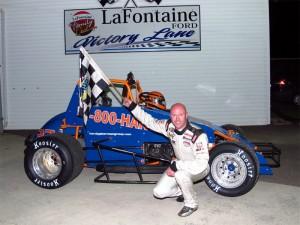 Gary Sherman in victory lane at Spartan Speedway. (RW Motorsports Marketing Photo)