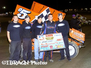 Brad Loyet won the National Sprint Tour feature at Eagle Raceway on Friday night, opening the door for the Durst Motorplex $20,000 if he can win the feature at Knoxville Raceway on Saturday night. (Brad Brown/IBRACN.com Photo)