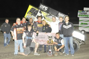 Terry McCarl and the TMAC Motorsports team in Victory Lane at Jackson (Rob Kocak Photo)