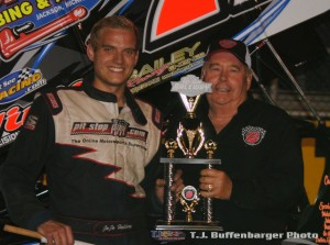 JoJo Helberg with Berlin Raceway promoter Don Dewitt following his victory during the Tom Bigelow Classic on Saturday night at Berlin Raceway. (T.J. Buffenbarger Photo)