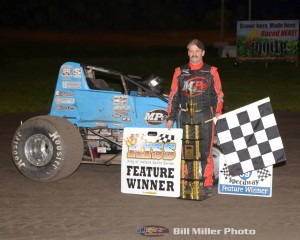 Jon Stanbrough following his King of Indiana Sprint Series victory on Friday night at Gas City I-69 Speedway. (Bill Miller Photo)