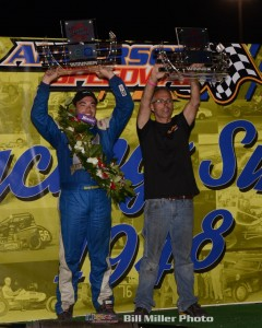 Chris Windom celebrates in Victory Lane with his car owner Jason Goacher. (Bill Miller Photo)