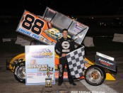 Jimmmy McCune in victory lane following their victory with the Must See Racing sprint car series. (Bill Miller Photo)