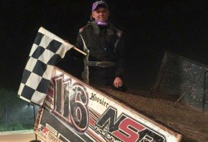Nick Snyder climbs atop his wing following his first career 360ci sprint car win in Friday's USCS event at Travelers Rest Speedway. (Dawn Snyder photo)