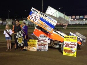 Cap Henry in victory lane at Fremont Speedway.  (Trail End Custom Photo)