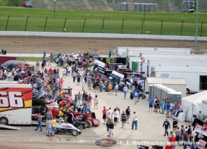 World of Outlaws and USAC Sprint Cars in the pit area at Eldora Speedway. (T.J. Buffenbarger Photo)