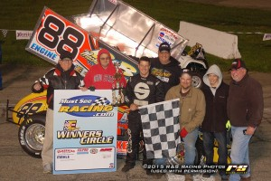 Jimmy McCune with with his crew following his victory on Wednesday at Anderson Speedway. (R&S Racing Photo)