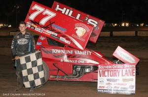 Parker Price-Miller in victory lane at Humberstone Speedway. (Dale Calnan Photo)