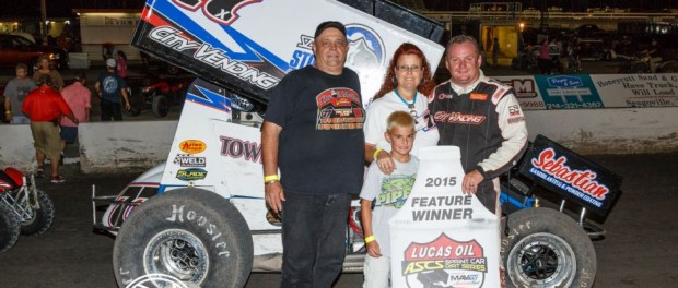 Dallas/Ft.Worth based Sponsor, the Oil Medics, joined Wayne Johnson in Victory Lane after a dominating performance with the Lucas Oil ASCS presented by MAVTV American Real at the Devil's Bowl Speedway. (ASCS / Pat Grant Photo)