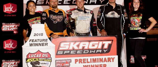 Seth Bergman led nearly every lap for his third Lucas Oil ASCS National Tour victory of 2015, winning Night 2 of Dirt Cup at the Skagit Speedway. (ASCS / Lisa Dynes Photography)