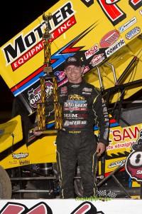 Joey Saldana following his victory on Wednesday night at Kokomo Speedway. (Mike Campbell / Campbellphoto.com)
