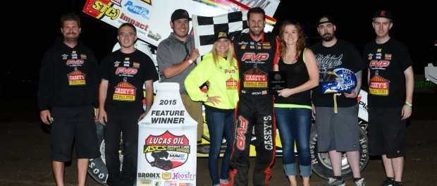 The team in Victory Lane at Belleville (Joe Orth/ASCS Photo)
