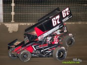 Christopher Bell (#67) racing with Kyle Larson (#67K) Wednesday night at Kokomo Speedway. (Mike Campbell / Campbellphoto.com)